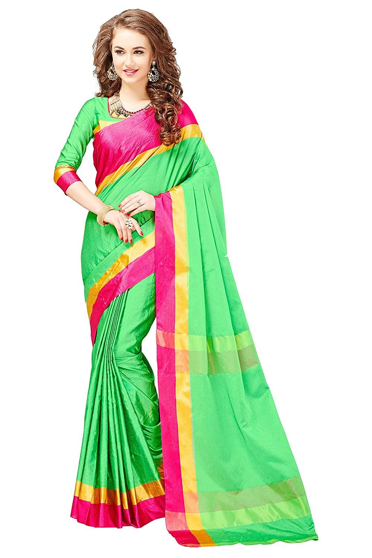 Glory Sarees Women's Banarasi Cotton Saree With Blouse