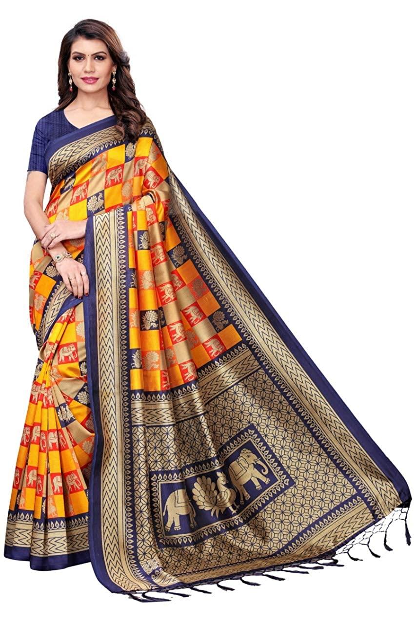 GoSriKi Silk Saree with Blouse Piece (banarasi border_Peach_Free Size)