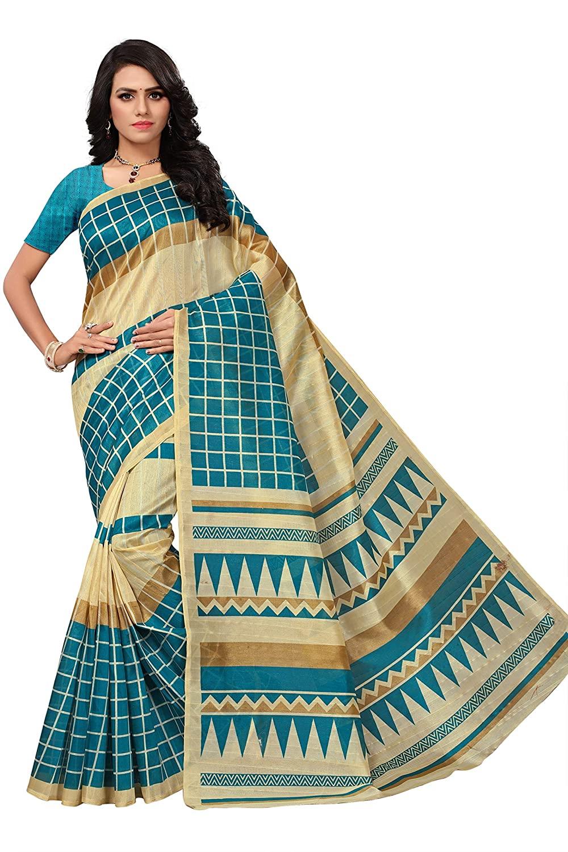 Indira Designer women's sky-blue color Bhagalpur silk printed saree