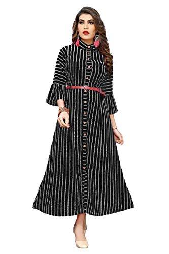 Vishva Women's Crepe 3/4 Sleeve Black Color Stitched Formal Gown
