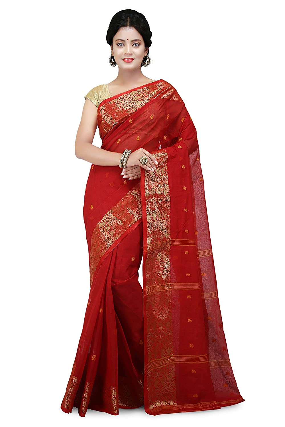 WoodenTant Cotton Red Colour Tant Handloom Saree
