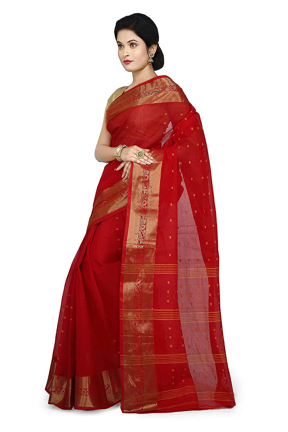 WoodenTant Women's Cotton Red Colour Tant Saree With Starch