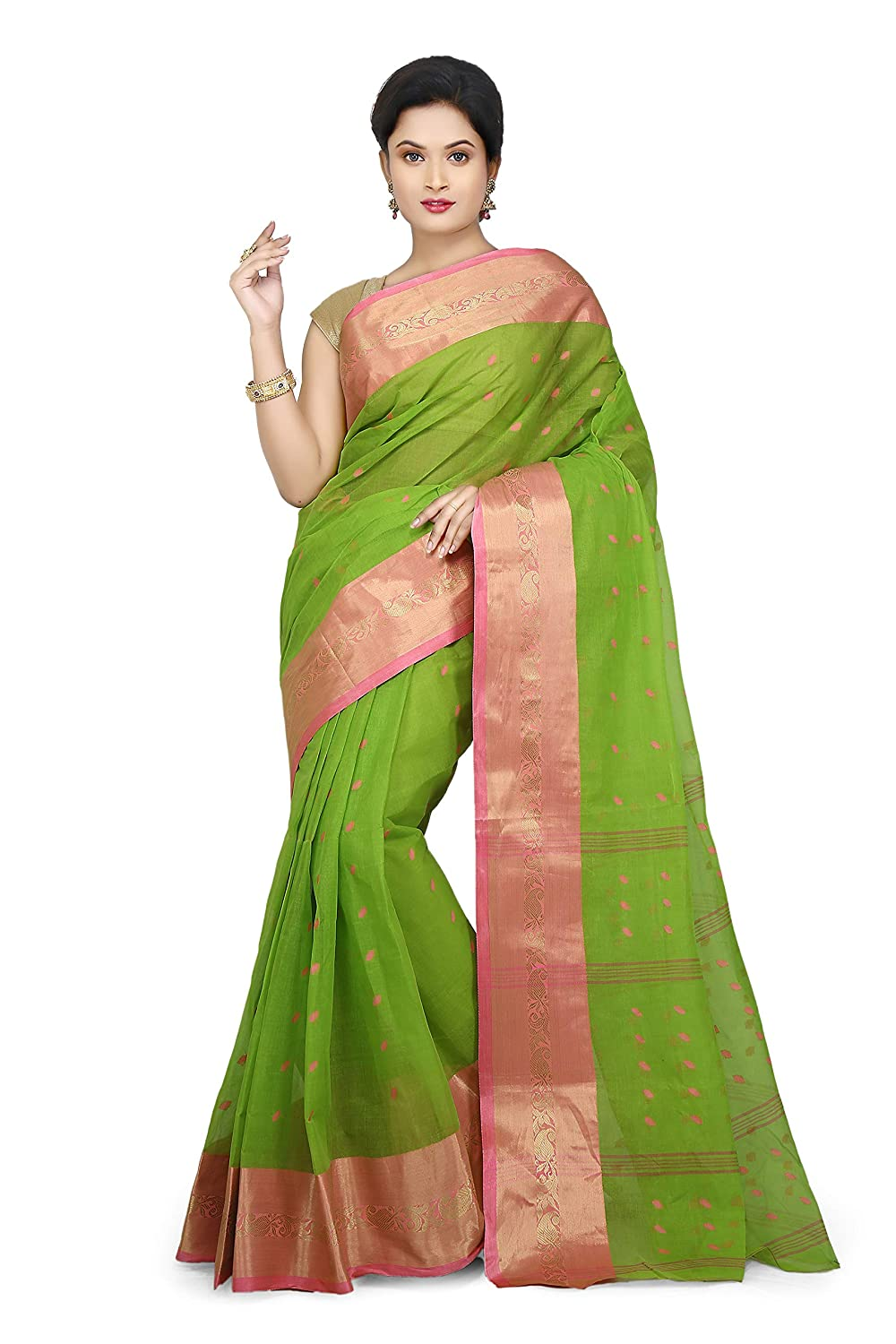 WoodenTant Women's Pure Cotton Green Colour Tant Saree
