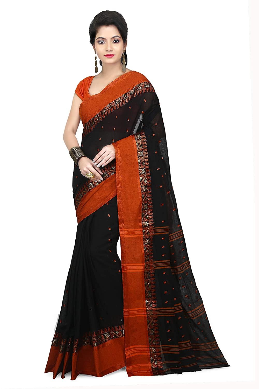 WoodenTant Women's Tant Black Colour Cotton Saree With Blouse