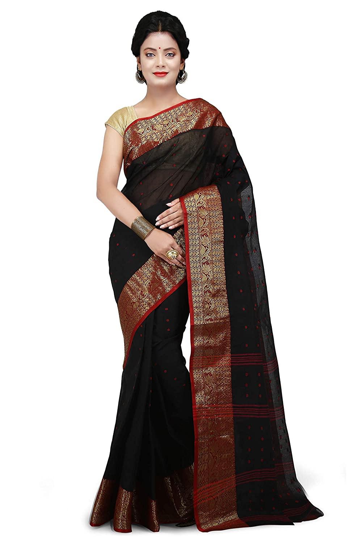 WoodenTant Women's Tant Black Colour Cotton Saree