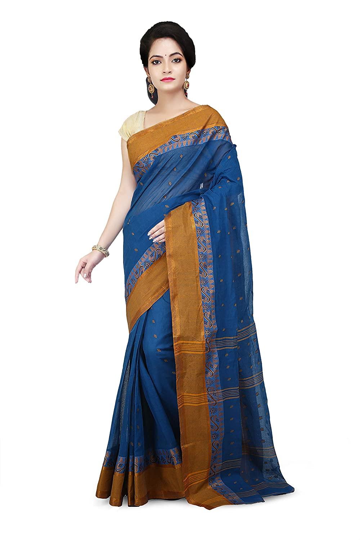 WoodenTant Women's Tant Blue Colour Cotton Saree