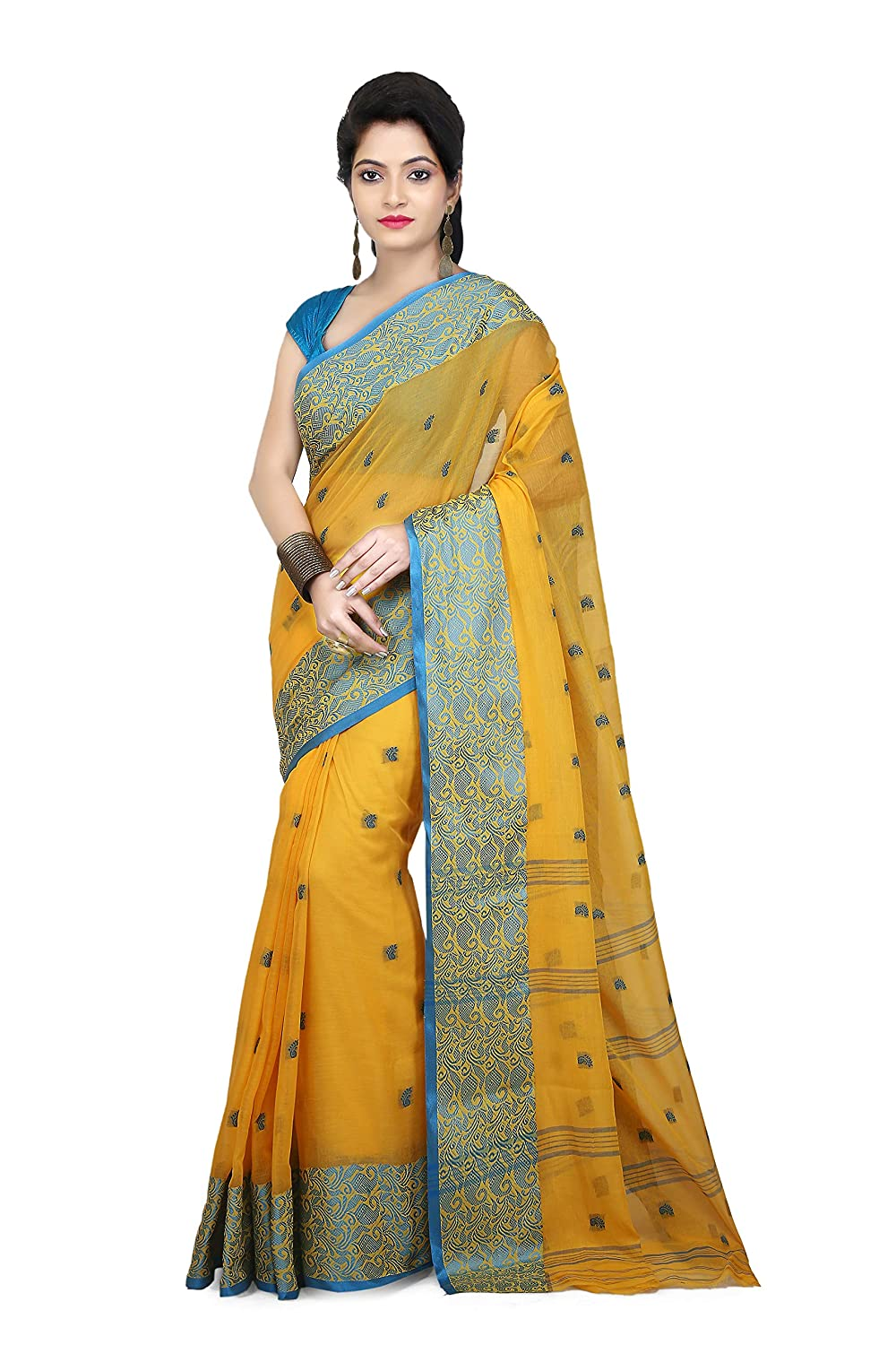 WoodenTant Women's Tant Cotton Yellow Colour Saree Without Blouse Piece