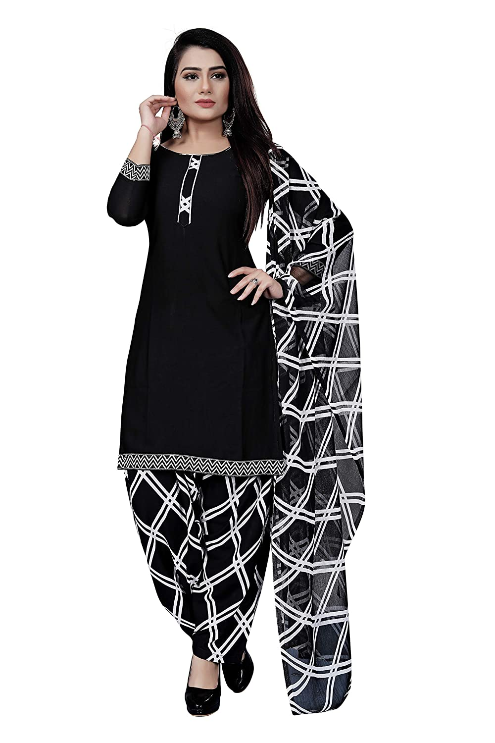 ANNI DESIGNER Women's Crepe Black Colour Printed Salwer Suit Dress Material