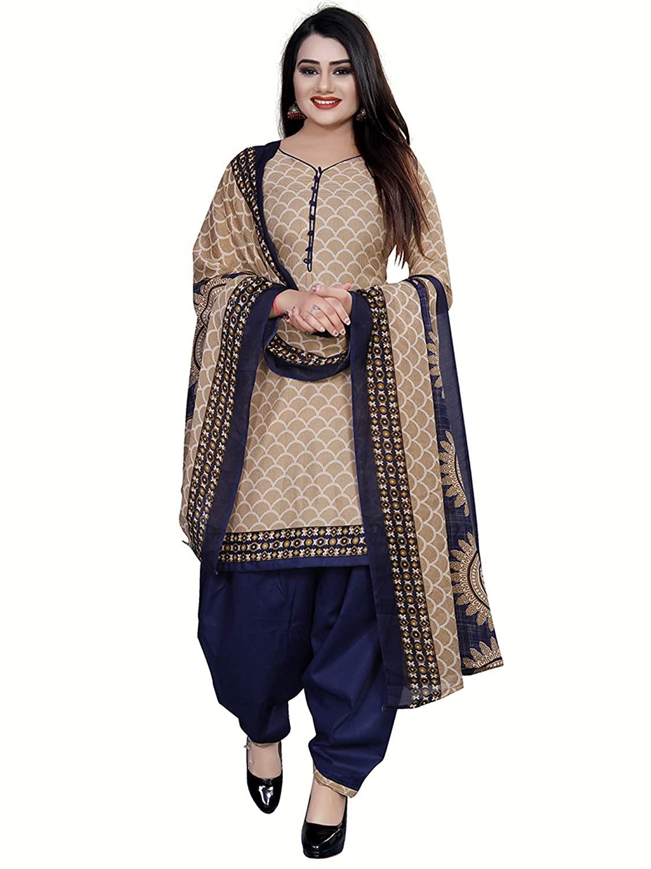 Rajnandini Women's Cotton Beige Colour Unstitched Salwar Suit Dress Material