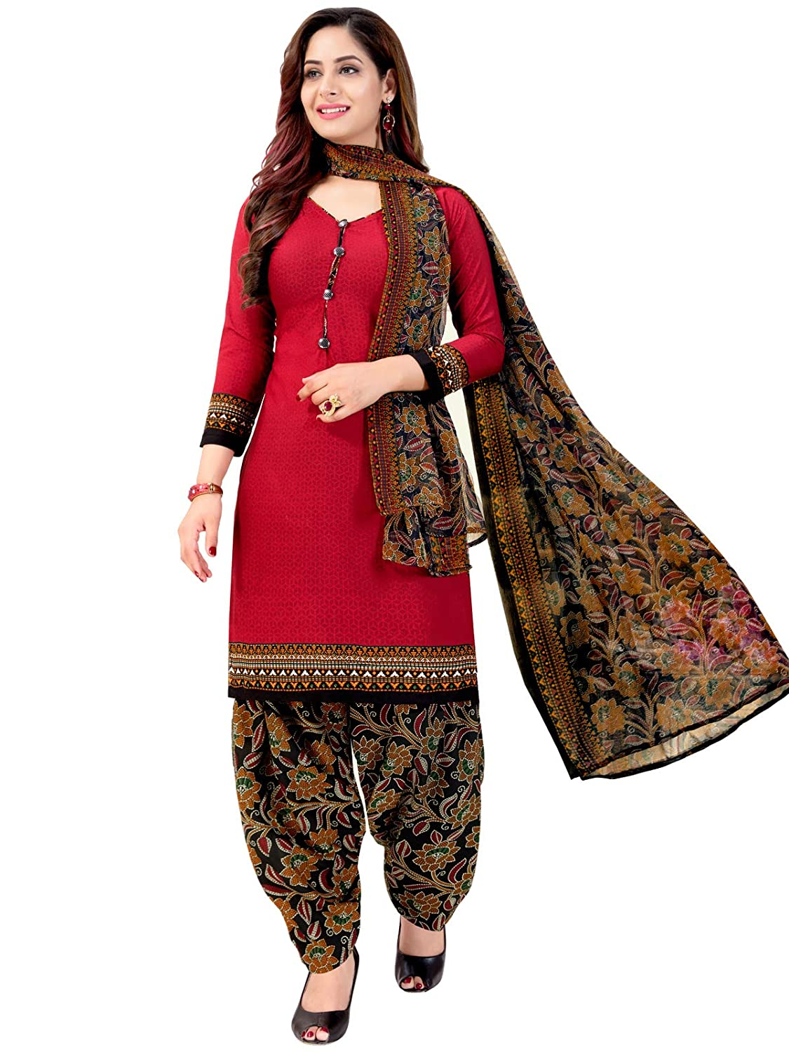Rajnandini Women's Red Colour Cotton Floral Printed Unstitched Salwar Suit Dress Material