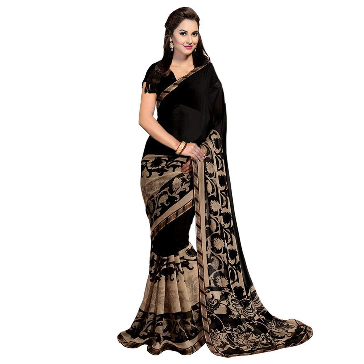 Anni Designer Georgette Black Colour Saree with Blouse Piece