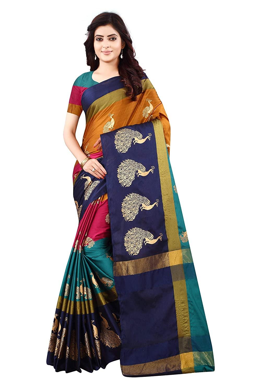 DHRUVI TRENDZ Women's Banarasi Cotton Silk Saree With Un-stitched Blouse
